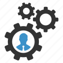 businessman, cogs, gears, manage, management, settings, support icon