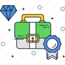 business, diamond, label, quality, suitcase icon