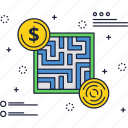 business, dollar, finance, labirint, maze, solution, way icon