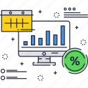 bars, computer, finance, percentage, progress, report, sign icon