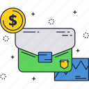 business, dollar, investment, sign, suitcase icon