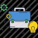 bag, business, idea, light bulb, suitcase