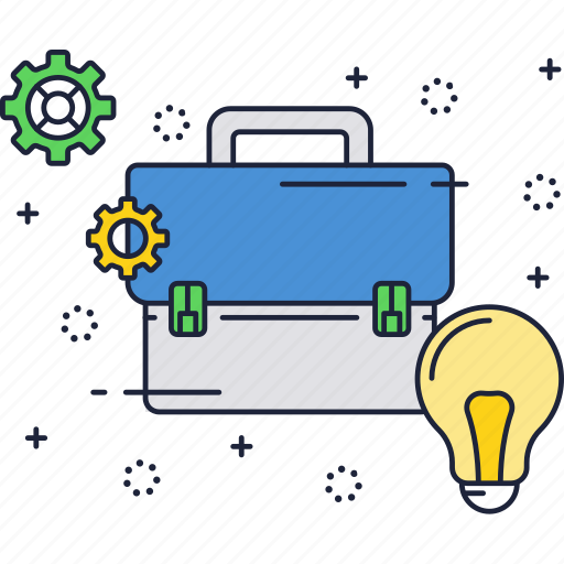 bag, business, idea, light bulb, suitcase icon