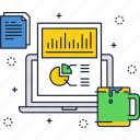 business, chart, coffee, cup, office, pie, workflow icon