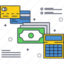 bill, business, calc, credit card, dollar, finance, payment icon