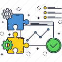 business, chart, finance, growth, puzzle, solution icon