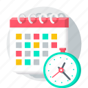 alarm, appointment, business, calendar, clock, coming soon icon