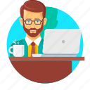 beard, office, typing, work, work hours, worker, working icon