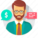 beard, business, business chat, business talk, help, man, money icon