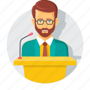 analysis, analytics, audience, beard, business, businessman, speech icon