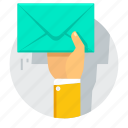 e-mail, email, hand, inbox, letter, mail icon