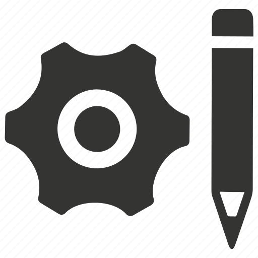 business, design, development, engineering, gear, pen icon