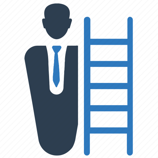 business success, business vision, businessman, stairs icon