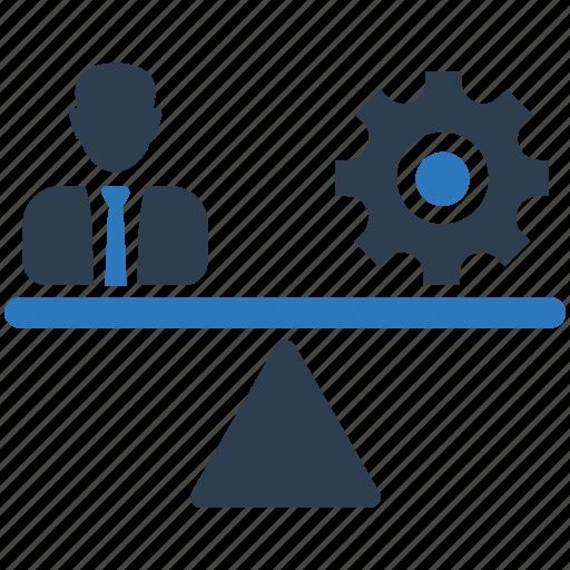balance, employee, measurement, performance, worker icon