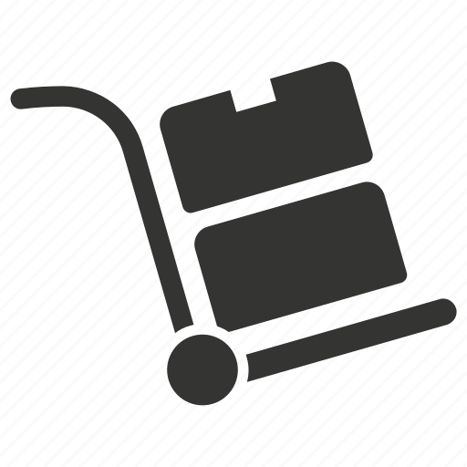 box, hand, package, shipment, shipping, trolley icon
