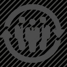 arrows, business, businessman, men, team icon