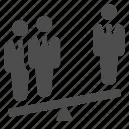 balance, businessman, businessmen, majority, see saw, seesaw icon