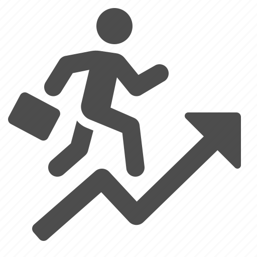 arrow, briefcase, business, businessman, graph, man, running icon