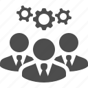 brainstorming, business, businessman, cog, gear, idea, men icon