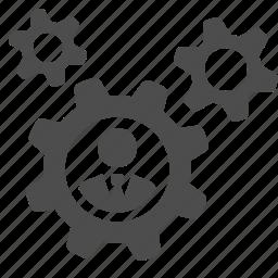 business, businessman, cog, gear, man icon