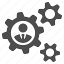 business, businessman, cog, cogs, gear, gears, man icon