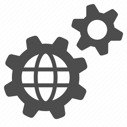 business, cog, gear, global, globe, network icon