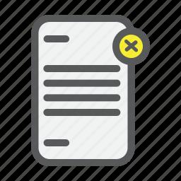 cancel, checklist, delete, document, file, list, paper icon