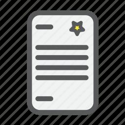 checklist, file, list, paper, star icon