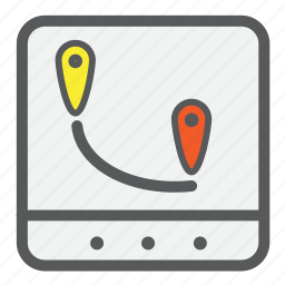 checkmarks, find, gps, location, map, navigation, pins icon
