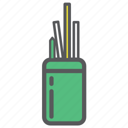 desk, jar, office, pencil, pens, stationery icon