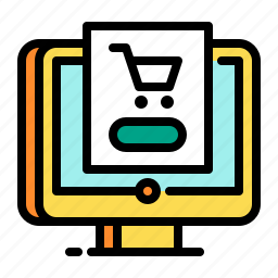 cart, computer, device, display, shopping icon