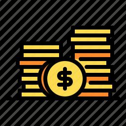 coins, dollar, money, revenue, shopping icon