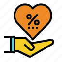 business, commission, heart, percent, share icon