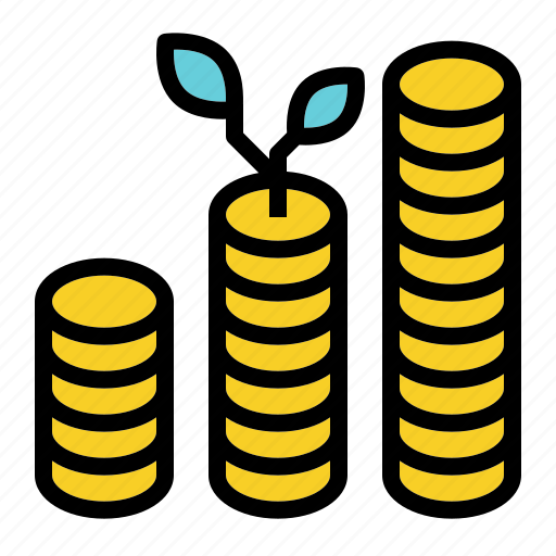 coin, finance, growth, investment, plant icon