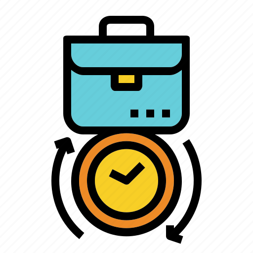 brifcase, business, clock, overtime, work icon