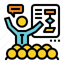 brief, chart, flow, presentation, training icon
