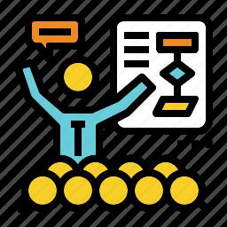brief, chart, flow, presentation, training icon