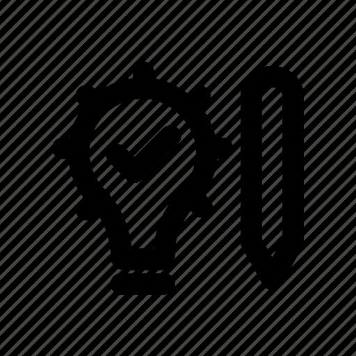 bulb, creative, idea, light, pencil icon