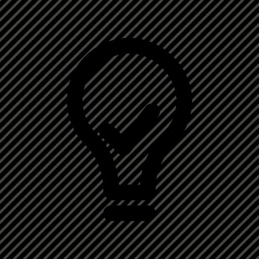 bulb, creativity, done, idea, tick icon
