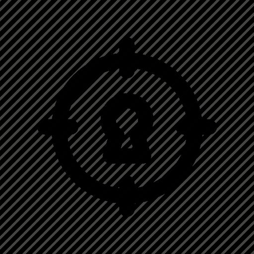 aim, focus, key, lock, target icon