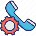 call management, cog, helpline, receiver, technical support icon