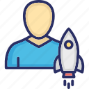 board member, ceo, missile, project, startup director icon