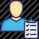 account management, accountant, businessman, clipboard, financier icon