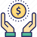 dollar, economy, hand, investments, payment icon
