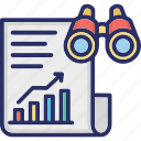 binoculars, entrepreneurship, report, sales, sales forecasting icon