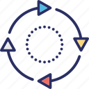 flow, multitasking, pattern, process, sequential process icon