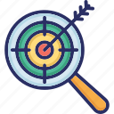 hit, magnifier, predictive analytics, search, target
