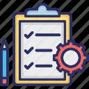 checklist, clipboard, cog, order, order processing
