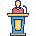 congress, election, leader, leading, speech icon