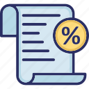 commissions, discount, document, percentage, tax